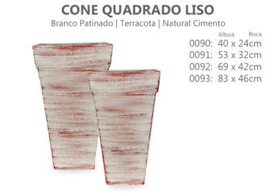 Vaso Cimento Caixa Cone quadrado Liso